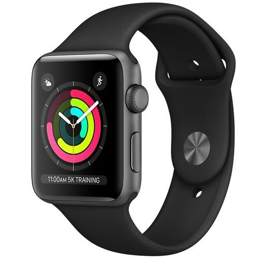 Apple Watch Series 3 GPS 42mm, Space Gray Aluminum Case with Black Sport Band