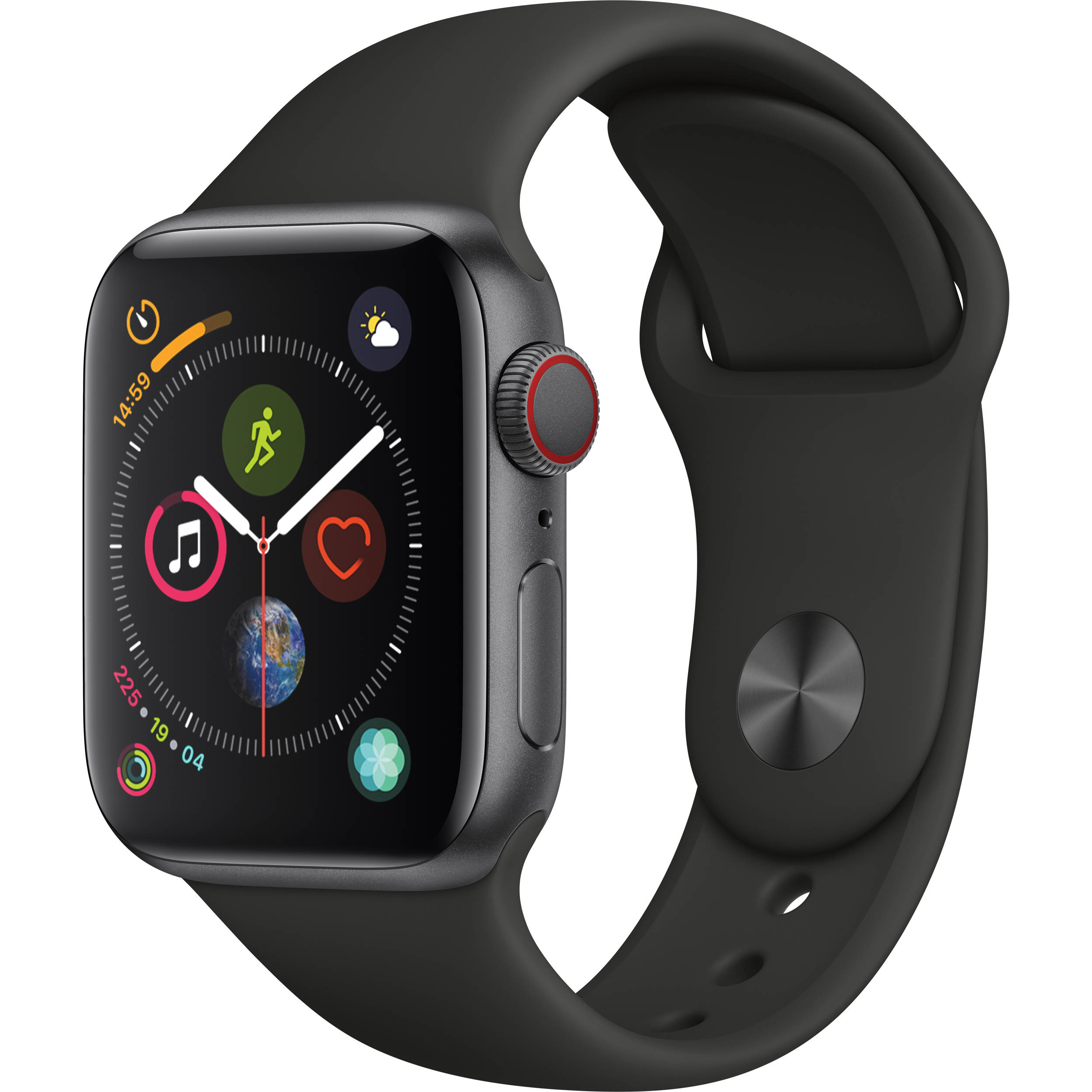 Apple Watch Series 4 black Aluminum Case with black Sport Band (GPS) 40mm Band fits 130–200mm wrists