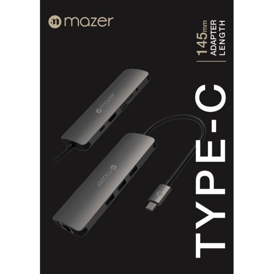 MAZER USB-C 3.1 to USB 3.0 X 3 HUB + Gigabite LAN Adapter